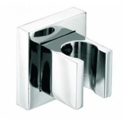 Supporto quadrato fisso con rosone per doccetta a muro in ottone cromato Bossini C50000