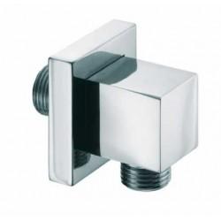 Supporto quadrato per doccetta in ottone cromato con presa d'acqua e rosone Bossini V00240