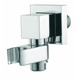 Presa acqua quadra a muro con supporto per doccetta ad attacco conico girevole in ottone cromato Bossini