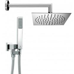 Composizione doccia Bossini con soffione quadrato ultra slim 20x20 cm, braccio doccia e kit duplex