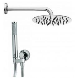 Composizione doccia Bossini con soffione tondo ultra slim diametro 20 cm, braccio doccia e kit duplex