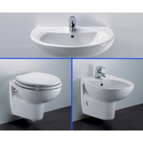 Vaso bidet e lavabo semicolonna sospeso tenax dolomite - Sanitari bagno dolomite ...