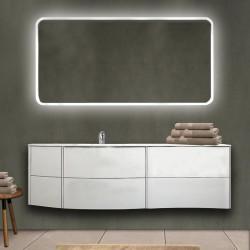 Mobile da bagno Dion sospeso 150 cm bianco opaco con lavabo (SX) + specchio lampada retroilluminato led e altoparlante bluetooth