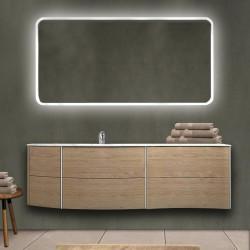 Mobile da bagno Dion 150 cm tabacco opaco con lavabo (SX) + specchio retroilluminato led e altoparlante bluetooth