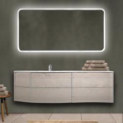 Mobile da bagno Dion 150 cm rovere sbiancato con lavabo (SX) + specchio retroilluminato led e altoparlante bluetooth