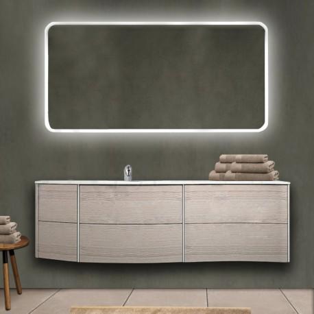 Mobile da bagno Dion 150 cm rovere sbiancato con lavabo (SX) + specchio lampada retroilluminato led e altoparlante bluetooth
