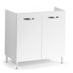 Mobile cucina sottolavello bianco frassinato 80x50 cm a 2 ante per lavelli in acciaio inox