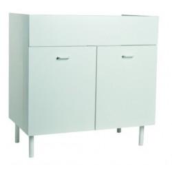 Mobile cucina sottolavello bianco 100x50 cm a 2 ante per lavelli in acciaio inox