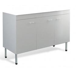 Mobile cucina sottolavello bianco 120x50 cm a 3 ante per lavelli in ceramica