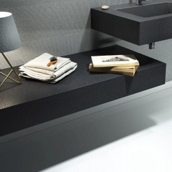 Mensola per lavabo da appoggio effetto Ardesia 120 x 50 cm realizzata in marmo resina modello BIG