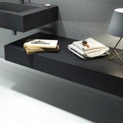 Mensola per lavabo da appoggio effetto Ardesia 200 x 50 cm realizzata in mineral marmo modello BIG