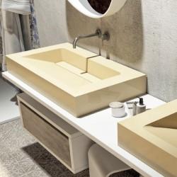 Top Monolitico con Lavabo Squadrato Integrato da 70 cm in Luxolid