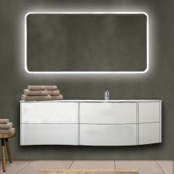 Mobile da bagno Dion sospeso 150 cm bianco opaco con lavabo (DX) + specchio lampada retroilluminato led e altoparlante bluetooth