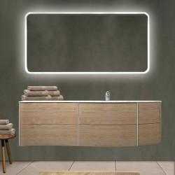 Mobile da bagno Dion 150 cm tabacco opaco con lavabo (DX) + specchio lampada retroilluminato led e altoparlante bluetooth