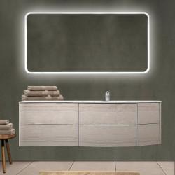 Mobile da bagno Dion 150 cm rovere sbiancato con lavabo (DX) + specchio retroilluminato led e altoparlante bluetooth