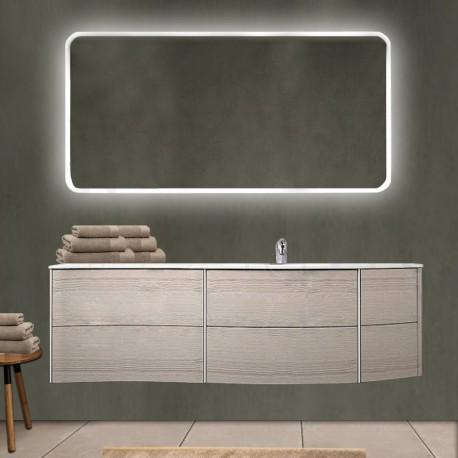 Mobile da bagno Dion 150 cm rovere sbiancato con lavabo (DX) + specchio lampada retroilluminato led e altoparlante bluetooth