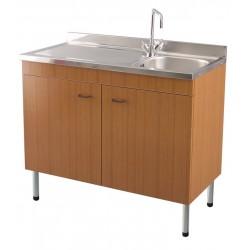 Mobile sottolavello teak 90x50 + lavello inox 1 vasca con gocciolatoio a sinistra