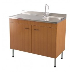 Mobile sottolavello teak 100x50 + lavello inox 1 vasca con gocciolatoio a sinistra