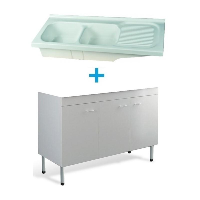 Mobile Sottolavello Bianco 120x50 Lavello In Ceramica 2 Vasche Con Gocciolatoio A Destra Vendita Online Italiaboxdoccia