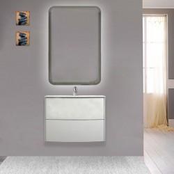 Mobile da bagno Dion sospeso 60 cm bianco opaco con specchio retroilluminato led ad accensione touch