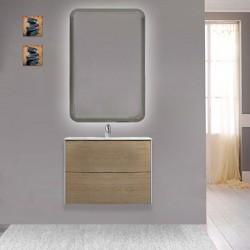 Mobile da bagno Dion sospeso 60 cm rovere tabacco con specchio retroilluminato led ad accensione touch