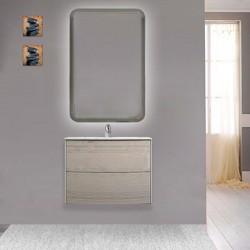 Mobile da bagno Dion sospeso 60 cm rovere sbiancato con specchio retroilluminato led ad accensione touch
