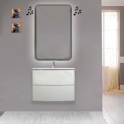 Mobile da bagno Dion sospeso 60 cm bianco opaco con specchio lampada retroilluminato led e altoparlante bluetooth