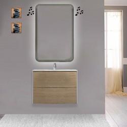 Mobile da bagno Dion sospeso 60 cm Rovere Tabacco con specchio lampada retroilluminato led e altoparlante bluetooth