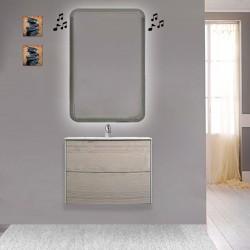 Mobile da bagno Dion sospeso 60 cm Rovere Sbiancato con specchio lampada retroilluminato led e altoparlante bluetooth
