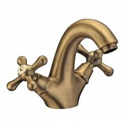 Miscelatore lavabo in ottone bronzato anticato Artis Serie Croce Epoca stile retrò