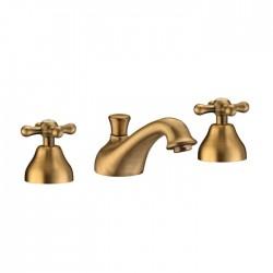 Batteria lavabo a 3 Fori in ottone bronzato anticato Artis Serie Croce Epoca stile retrò