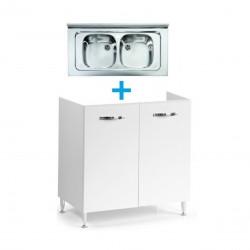 Mobile sottolavello bianco frassinato 80x50 + lavello inox a 2 vasche