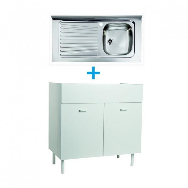 Mobile Con Lavello Cucina.Mobile Sottolavello Bianco 90x50 Lavello Inox 1 Vasca Con Gocciolatoio A Sinistra Vendita Online Italiaboxdoccia
