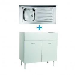 Mobile sottolavello bianco 100x50 + lavello inox 1 vasca con gocciolatoio a destra