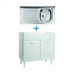 Mobile sottolavello bianco 100x50 + lavello inox 1 vasca con gocciolatoio a sinistra