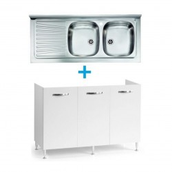 Mobile sottolavello bianco frassinato 120x50 + lavello inox 2 vasche con gocciolatoio a sinistra