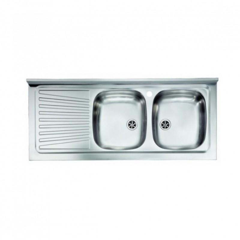 Mobile sottolavello noce antico 120x50 + lavello inox 2 vasche con  gocciolatoio a sinistra - Vendita Online ItaliaBoxDoccia