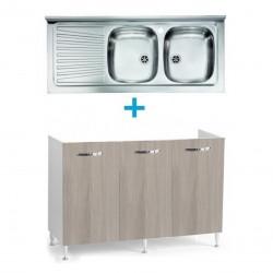 Mobile sottolavello olmo 120x50 + lavello inox 2 vasche con gocciolatoio a sinistra