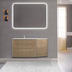 Mobile da bagno Dion 90 cm tabacco opaco con lavabo (SX) + specchio lampada retroilluminato led e altoparlante bluetooth