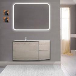 Mobile da bagno Dion 90 cm rovere sbiancato con lavabo (SX) + specchio lampada retroilluminato led e altoparlante bluetooth