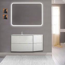 Mobile da bagno Dion 90 cm bianco opaco con lavabo (SX) + specchio lampada retroilluminato led e altoparlante bluetooth