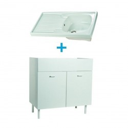 Mobile sottolavello bianco 80x50 + lavello in ceramica 1 vasca con gocciolatoio a sinistra