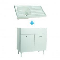 Mobile sottolavello bianco 80x50 + lavello in ceramica 1 vasca con gocciolatoio a destra