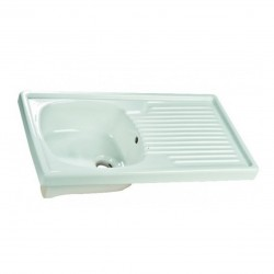 Lavello da appoggio 80 cm con lavandino a sinistra in ceramica bianca lucida
