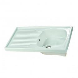 Lavello da appoggio 80 cm con lavandino a destra in ceramica bianca lucida