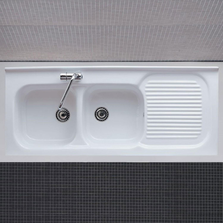 Lavello Cucina In Porcellana lavello da appoggio 120 cm con doppio lavandino a sinistra in ceramica  bianca lucida - vendita online italiaboxdoccia