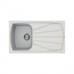 Lavello cucina in Granitek bianco a vasca singola e gocciolatoio destra Living400B di Elleci