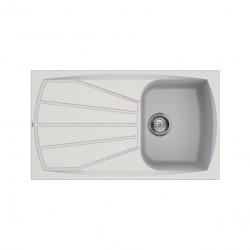Lavello cucina in Granitek bianco a vasca singola e gocciolatoio sinistra Living400B di Elleci