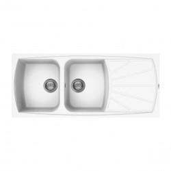 Lavello cucina da incasso in Granitek bianco a 2 vasche e gocciolatoio destra LGL50068 di Elleci