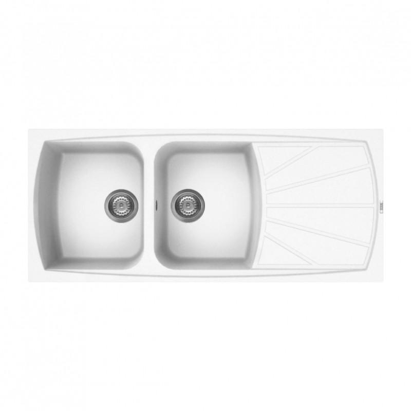 Lavello cucina da incasso in Granitek bianco a 2 vasche e gocciolatoio  destra LGL50068 di Elleci - Vendita Online ItaliaBoxDoccia